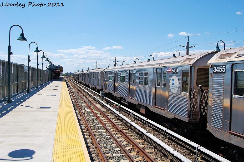 (370k, 1024x681)<br><b>Country:</b> United States<br><b>City:</b> New York<br><b>System:</b> New York City Transit<br><b>Line:</b> IND Rockaway<br><b>Location:</b> Beach 44th Street/Frank Avenue <br><b>Route:</b> A<br><b>Car:</b> R-32 (Budd, 1964)  3454 <br><b>Photo by:</b> John Dooley<br><b>Date:</b> 8/11/2011<br><b>Viewed (this week/total):</b> 0 / 614