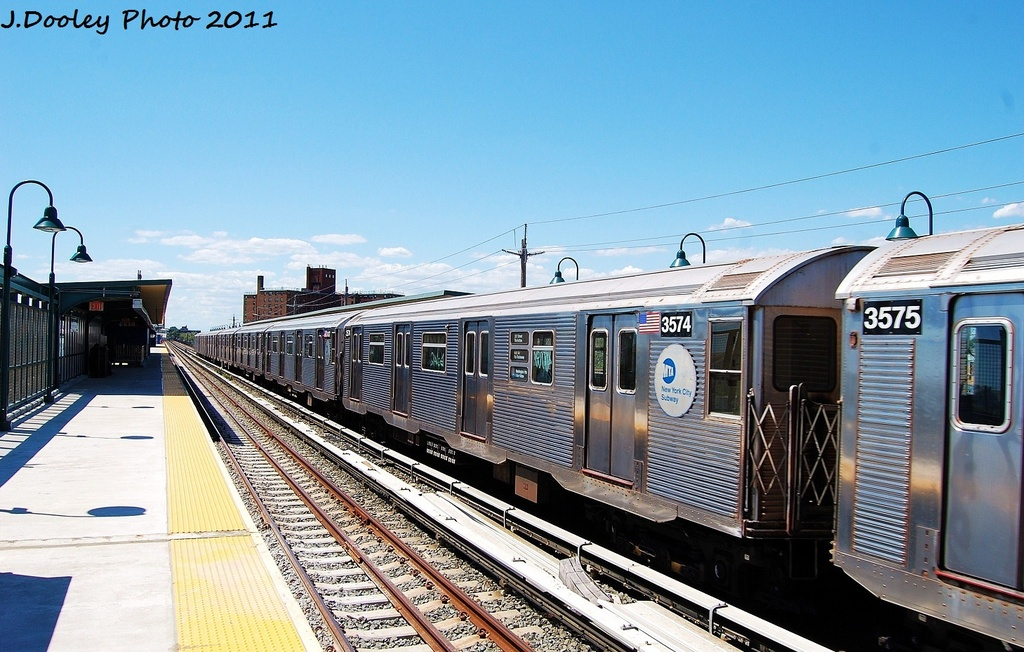 (332k, 1024x652)<br><b>Country:</b> United States<br><b>City:</b> New York<br><b>System:</b> New York City Transit<br><b>Line:</b> IND Rockaway<br><b>Location:</b> Beach 67th Street/Gaston Avenue <br><b>Route:</b> A<br><b>Car:</b> R-32 (Budd, 1964)  3574 <br><b>Photo by:</b> John Dooley<br><b>Date:</b> 8/11/2011<br><b>Viewed (this week/total):</b> 0 / 608