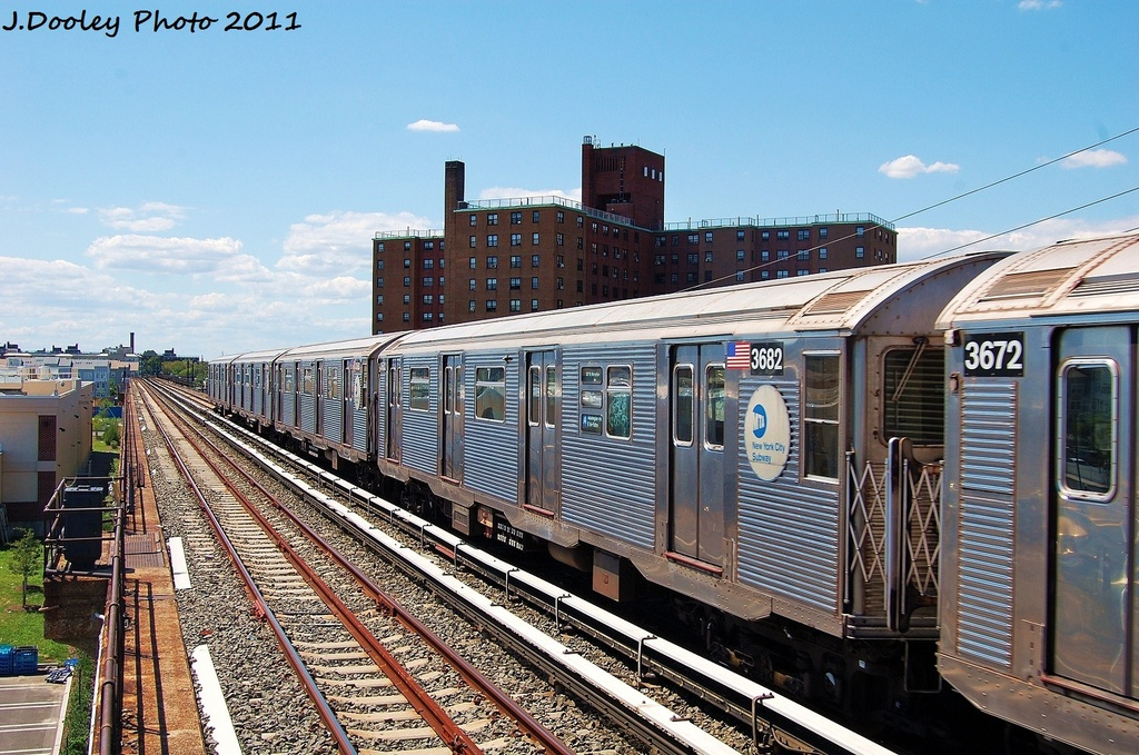 (389k, 1024x679)<br><b>Country:</b> United States<br><b>City:</b> New York<br><b>System:</b> New York City Transit<br><b>Line:</b> IND Rockaway<br><b>Location:</b> Beach 44th Street/Frank Avenue <br><b>Route:</b> A<br><b>Car:</b> R-32 (Budd, 1964)  3682 <br><b>Photo by:</b> John Dooley<br><b>Date:</b> 8/11/2011<br><b>Viewed (this week/total):</b> 1 / 709