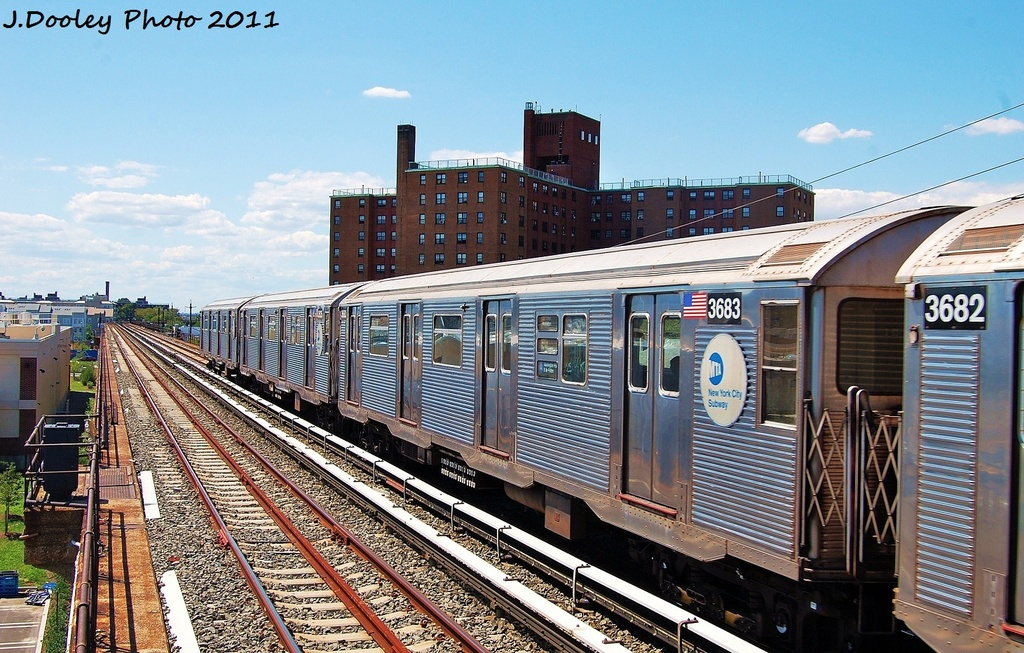 (386k, 1024x653)<br><b>Country:</b> United States<br><b>City:</b> New York<br><b>System:</b> New York City Transit<br><b>Line:</b> IND Rockaway<br><b>Location:</b> Beach 44th Street/Frank Avenue <br><b>Route:</b> A<br><b>Car:</b> R-32 (Budd, 1964)  3683 <br><b>Photo by:</b> John Dooley<br><b>Date:</b> 8/11/2011<br><b>Viewed (this week/total):</b> 2 / 620