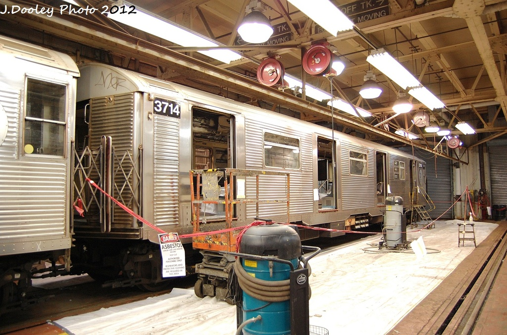 (386k, 1024x677)<br><b>Country:</b> United States<br><b>City:</b> New York<br><b>System:</b> New York City Transit<br><b>Location:</b> Coney Island Shop-Paint Shop<br><b>Car:</b> R-32 (Budd, 1964)  3714 <br><b>Photo by:</b> John Dooley<br><b>Date:</b> 1/19/2012<br><b>Viewed (this week/total):</b> 1 / 1156