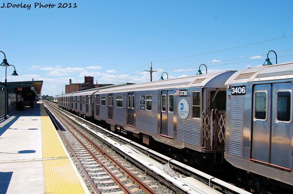 (354k, 1024x681)<br><b>Country:</b> United States<br><b>City:</b> New York<br><b>System:</b> New York City Transit<br><b>Line:</b> IND Rockaway<br><b>Location:</b> Beach 67th Street/Gaston Avenue <br><b>Route:</b> A<br><b>Car:</b> R-32 (Budd, 1964)  3736 <br><b>Photo by:</b> John Dooley<br><b>Date:</b> 8/11/2011<br><b>Viewed (this week/total):</b> 1 / 521