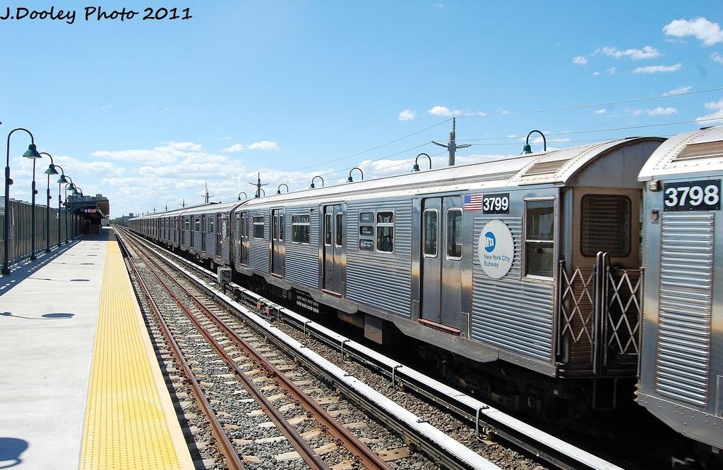 (356k, 1024x667)<br><b>Country:</b> United States<br><b>City:</b> New York<br><b>System:</b> New York City Transit<br><b>Line:</b> IND Rockaway<br><b>Location:</b> Beach 44th Street/Frank Avenue <br><b>Route:</b> A<br><b>Car:</b> R-32 (Budd, 1964)  3799 <br><b>Photo by:</b> John Dooley<br><b>Date:</b> 8/11/2011<br><b>Viewed (this week/total):</b> 0 / 514