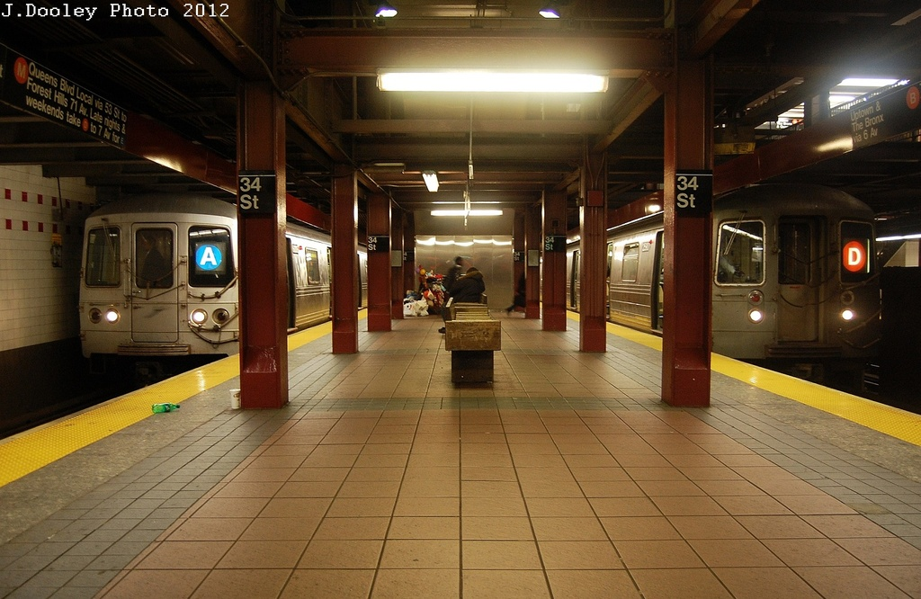 (317k, 1024x666)<br><b>Country:</b> United States<br><b>City:</b> New York<br><b>System:</b> New York City Transit<br><b>Line:</b> IND 6th Avenue Line<br><b>Location:</b> 34th Street/Herald Square <br><b>Route:</b> A reroute<br><b>Car:</b> R-46 (Pullman-Standard, 1974-75)  <br><b>Photo by:</b> John Dooley<br><b>Date:</b> 3/13/2012<br><b>Viewed (this week/total):</b> 1 / 1486