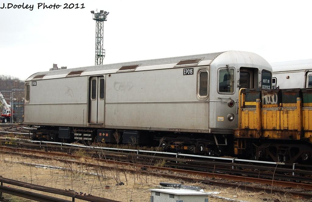 (304k, 1024x665)<br><b>Country:</b> United States<br><b>City:</b> New York<br><b>System:</b> New York City Transit<br><b>Location:</b> 207th Street Yard<br><b>Car:</b> R-127/R-134 (Kawasaki, 1991-1996) EP016 <br><b>Photo by:</b> John Dooley<br><b>Date:</b> 11/29/2011<br><b>Viewed (this week/total):</b> 4 / 672