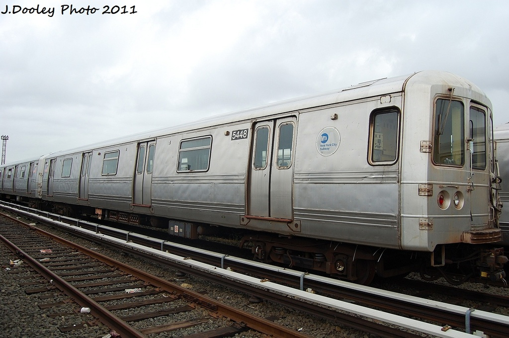 (302k, 1024x680)<br><b>Country:</b> United States<br><b>City:</b> New York<br><b>System:</b> New York City Transit<br><b>Location:</b> 207th Street Yard<br><b>Car:</b> R-44 (St. Louis, 1971-73) 5448 <br><b>Photo by:</b> John Dooley<br><b>Date:</b> 11/29/2011<br><b>Viewed (this week/total):</b> 4 / 486