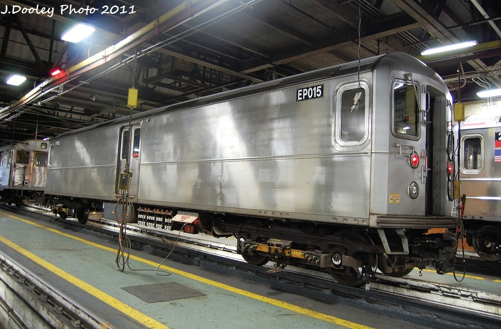 (355k, 1024x672)<br><b>Country:</b> United States<br><b>City:</b> New York<br><b>System:</b> New York City Transit<br><b>Location:</b> 207th Street Shop<br><b>Car:</b> R-127/R-134 (Kawasaki, 1991-1996) EP015 <br><b>Photo by:</b> John Dooley<br><b>Date:</b> 11/29/2011<br><b>Viewed (this week/total):</b> 1 / 1037
