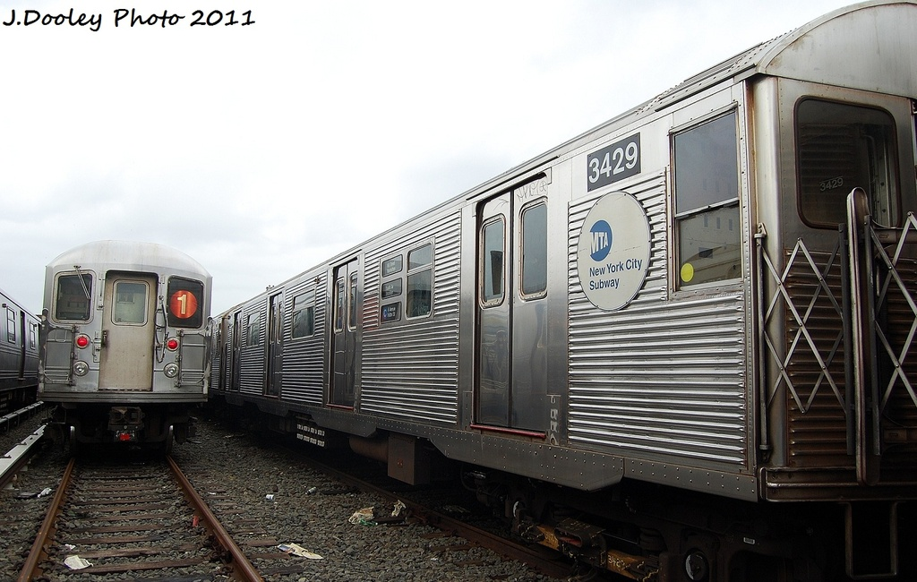 (298k, 1024x650)<br><b>Country:</b> United States<br><b>City:</b> New York<br><b>System:</b> New York City Transit<br><b>Location:</b> 207th Street Yard<br><b>Car:</b> R-32 (Budd, 1964)  3429 <br><b>Photo by:</b> John Dooley<br><b>Date:</b> 11/29/2011<br><b>Viewed (this week/total):</b> 1 / 525