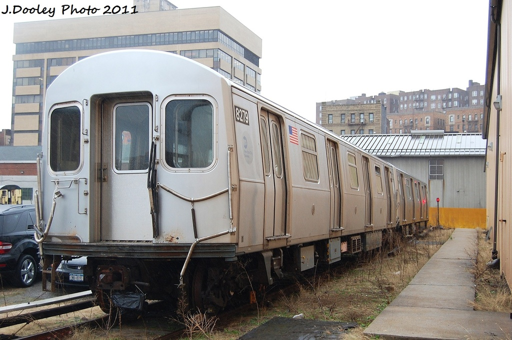 (326k, 1024x680)<br><b>Country:</b> United States<br><b>City:</b> New York<br><b>System:</b> New York City Transit<br><b>Location:</b> 207th Street Yard<br><b>Car:</b> R-143 (Kawasaki, 2001-2002) 8279 <br><b>Photo by:</b> John Dooley<br><b>Date:</b> 11/29/2011<br><b>Viewed (this week/total):</b> 2 / 1033
