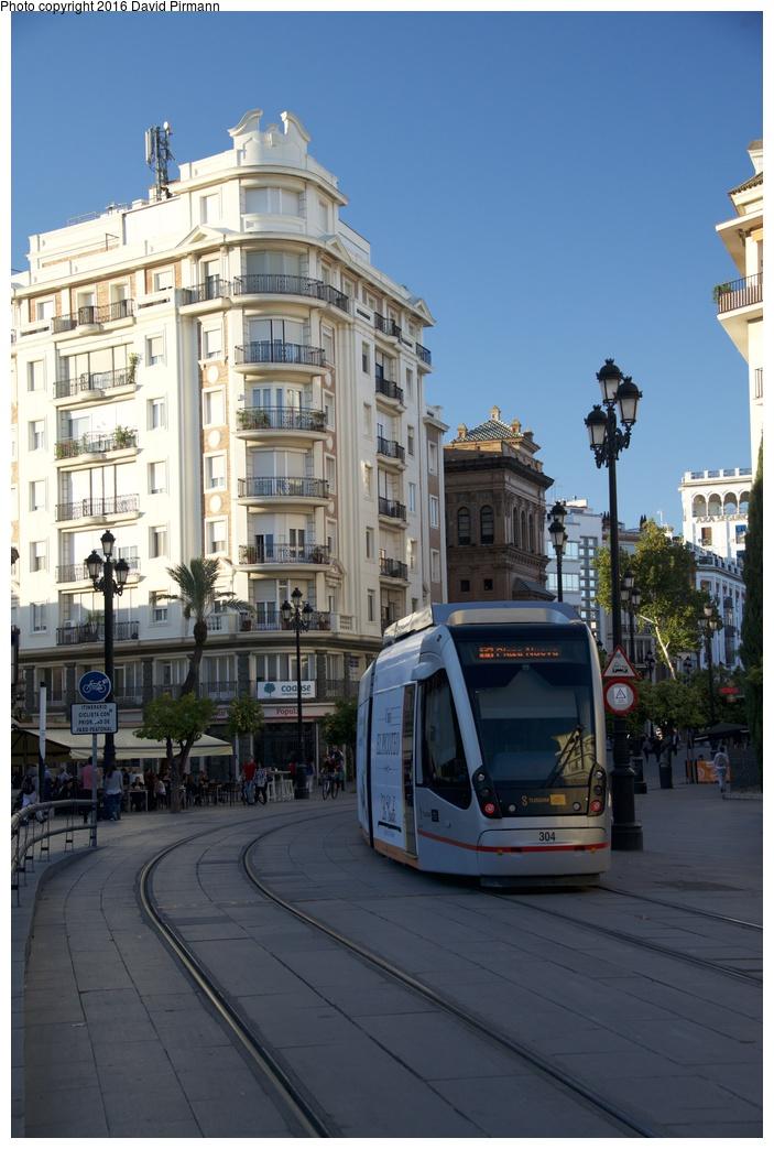 (239k, 703x1043)<br><b>Country:</b> Spain<br><b>City:</b> Seville<br><b>System:</b> Tranvía MetroCentro <br><b>Location:</b> <b>Puerta de Jerez</b> <br><b>Car:</b> CAF Urbos 3  304 <br><b>Photo by:</b> David Pirmann<br><b>Date:</b> 11/9/2015<br><b>Viewed (this week/total):</b> 1 / 537