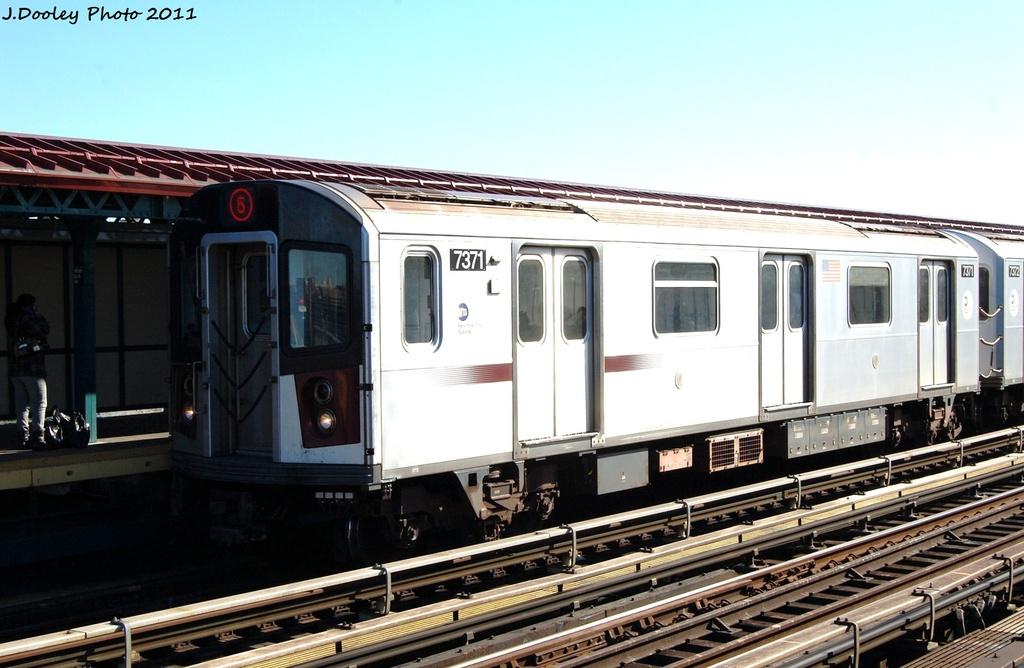 (279k, 1024x668)<br><b>Country:</b> United States<br><b>City:</b> New York<br><b>System:</b> New York City Transit<br><b>Line:</b> IRT Pelham Line<br><b>Location:</b> Whitlock Avenue <br><b>Route:</b> 6<br><b>Car:</b> R-142A (Primary Order, Kawasaki, 1999-2002)  7371 <br><b>Photo by:</b> John Dooley<br><b>Date:</b> 11/5/2011<br><b>Viewed (this week/total):</b> 3 / 864