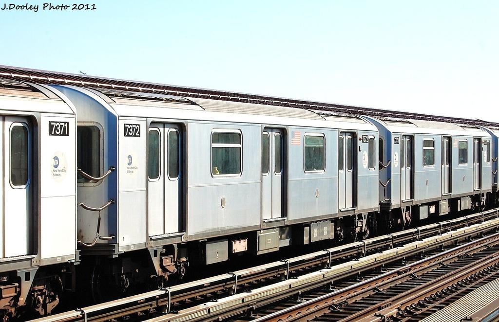 (325k, 1024x662)<br><b>Country:</b> United States<br><b>City:</b> New York<br><b>System:</b> New York City Transit<br><b>Line:</b> IRT Pelham Line<br><b>Location:</b> Whitlock Avenue <br><b>Route:</b> 6<br><b>Car:</b> R-142A (Primary Order, Kawasaki, 1999-2002)  7372 <br><b>Photo by:</b> John Dooley<br><b>Date:</b> 11/5/2011<br><b>Viewed (this week/total):</b> 2 / 893