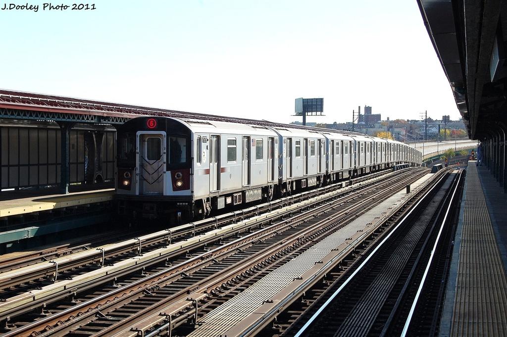 (358k, 1024x681)<br><b>Country:</b> United States<br><b>City:</b> New York<br><b>System:</b> New York City Transit<br><b>Line:</b> IRT Pelham Line<br><b>Location:</b> Whitlock Avenue <br><b>Route:</b> 6<br><b>Car:</b> R-142A (Primary Order, Kawasaki, 1999-2002)  7575 <br><b>Photo by:</b> John Dooley<br><b>Date:</b> 11/5/2011<br><b>Viewed (this week/total):</b> 0 / 750