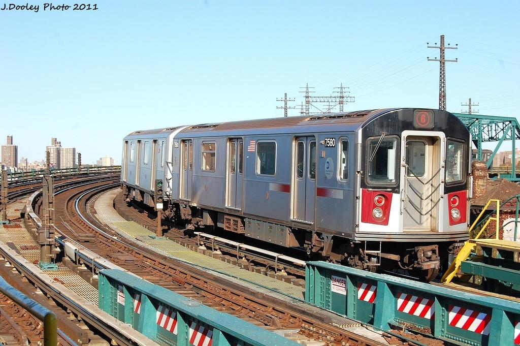 (368k, 1024x681)<br><b>Country:</b> United States<br><b>City:</b> New York<br><b>System:</b> New York City Transit<br><b>Line:</b> IRT Pelham Line<br><b>Location:</b> Whitlock Avenue <br><b>Route:</b> 6<br><b>Car:</b> R-142A (Primary Order, Kawasaki, 1999-2002)  7580 <br><b>Photo by:</b> John Dooley<br><b>Date:</b> 11/5/2011<br><b>Viewed (this week/total):</b> 0 / 813