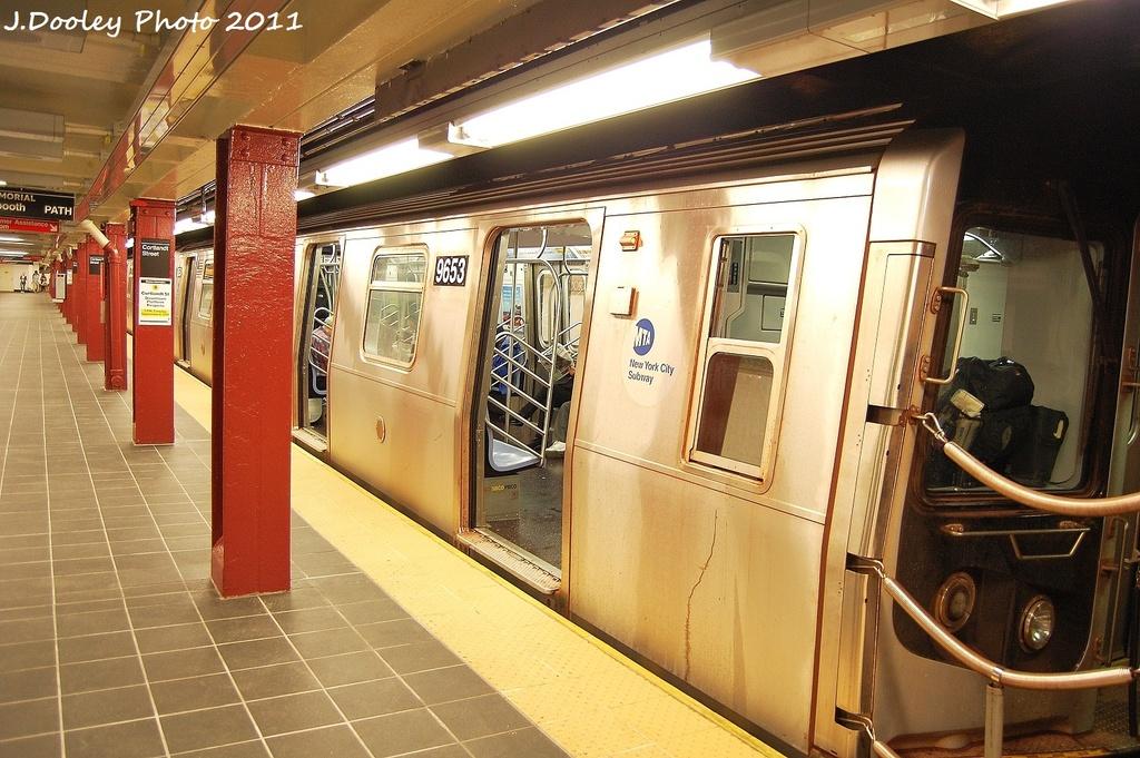 (361k, 1024x681)<br><b>Country:</b> United States<br><b>City:</b> New York<br><b>System:</b> New York City Transit<br><b>Line:</b> BMT Broadway Line<br><b>Location:</b> Cortlandt Street-World Trade Center <br><b>Route:</b> R<br><b>Car:</b> R-160A-1 (Alstom, 2005-2008, 4 car sets)  9653 <br><b>Photo by:</b> John Dooley<br><b>Date:</b> 9/6/2011<br><b>Viewed (this week/total):</b> 4 / 1136