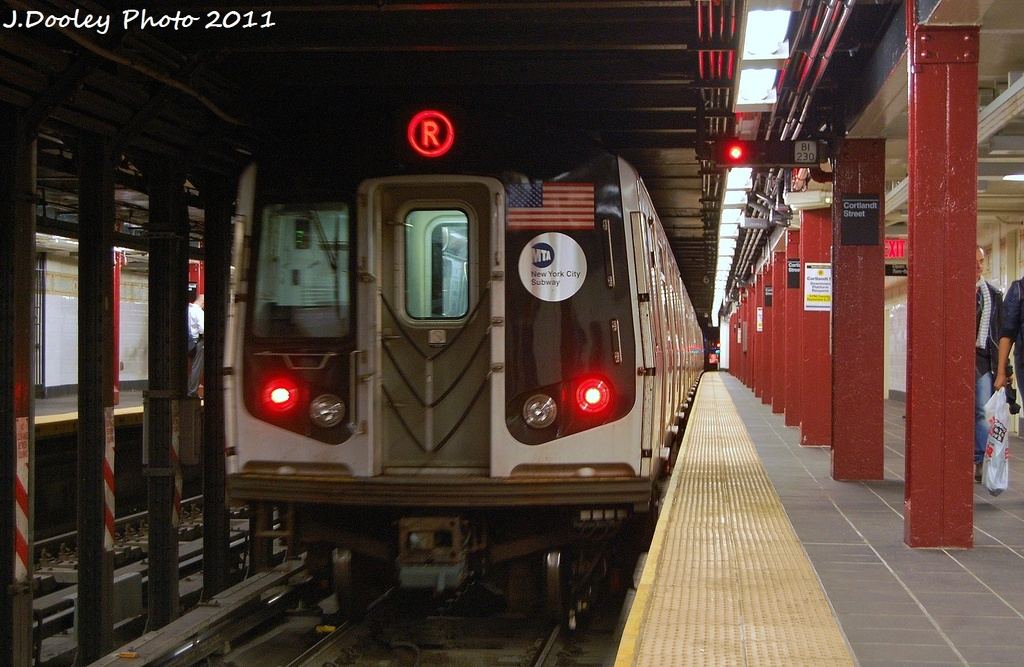 (338k, 1024x667)<br><b>Country:</b> United States<br><b>City:</b> New York<br><b>System:</b> New York City Transit<br><b>Line:</b> BMT Broadway Line<br><b>Location:</b> Cortlandt Street-World Trade Center <br><b>Route:</b> R<br><b>Car:</b> R-160A-1 (Alstom, 2005-2008, 4 car sets)  9743 <br><b>Photo by:</b> John Dooley<br><b>Date:</b> 9/6/2011<br><b>Viewed (this week/total):</b> 0 / 1411