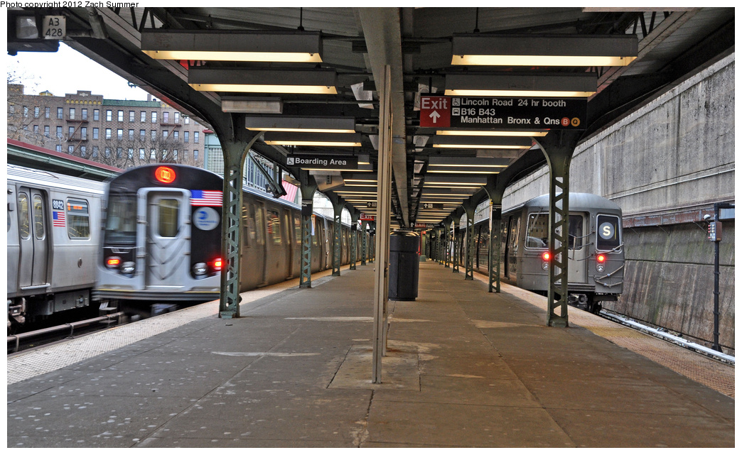 (377k, 1044x641)<br><b>Country:</b> United States<br><b>City:</b> New York<br><b>System:</b> New York City Transit<br><b>Line:</b> BMT Brighton Line<br><b>Location:</b> Prospect Park <br><b>Route:</b> Q<br><b>Car:</b> R-160B (Kawasaki, 2005-2008)  8842/8857 <br><b>Photo by:</b> Zach Summer<br><b>Date:</b> 1/14/2012<br><b>Notes:</b> With R68 2921 on the Shuttle Layup.<br><b>Viewed (this week/total):</b> 1 / 1149
