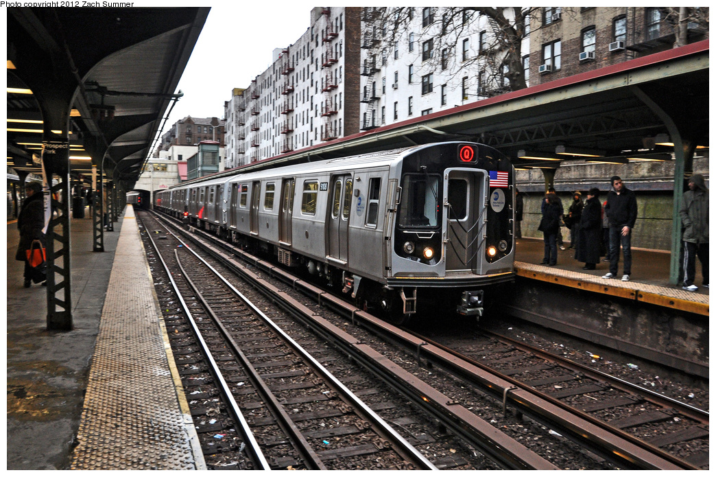 (479k, 1044x695)<br><b>Country:</b> United States<br><b>City:</b> New York<br><b>System:</b> New York City Transit<br><b>Line:</b> BMT Brighton Line<br><b>Location:</b> Prospect Park <br><b>Route:</b> Q<br><b>Car:</b> R-160B (Option 1) (Kawasaki, 2008-2009)  9108 <br><b>Photo by:</b> Zach Summer<br><b>Date:</b> 1/14/2012<br><b>Viewed (this week/total):</b> 1 / 1356