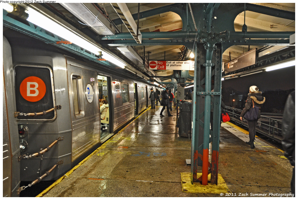 (447k, 1044x700)<br><b>Country:</b> United States<br><b>City:</b> New York<br><b>System:</b> New York City Transit<br><b>Line:</b> BMT West End Line<br><b>Location:</b> 62nd Street <br><b>Route:</b> B Reroute<br><b>Car:</b> R-68A (Kawasaki, 1988-1989)  5110 <br><b>Photo by:</b> Zach Summer<br><b>Date:</b> 12/27/2011<br><b>Notes:</b> Rerouted via 4 Av Local/West End Express to Coney Island<br><b>Viewed (this week/total):</b> 0 / 1208