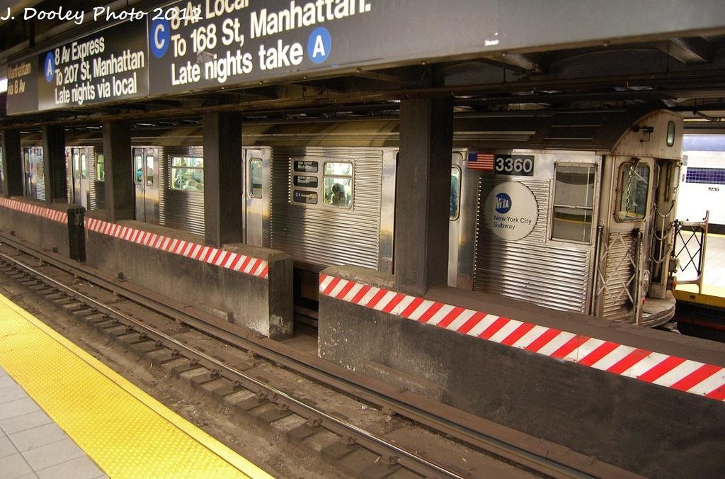 (356k, 1024x676)<br><b>Country:</b> United States<br><b>City:</b> New York<br><b>System:</b> New York City Transit<br><b>Line:</b> IND 8th Avenue Line<br><b>Location:</b> Jay St./Metrotech (Borough Hall) <br><b>Route:</b> C<br><b>Car:</b> R-32 (Budd, 1964)  3360 <br><b>Photo by:</b> John Dooley<br><b>Date:</b> 1/3/2012<br><b>Viewed (this week/total):</b> 0 / 1144