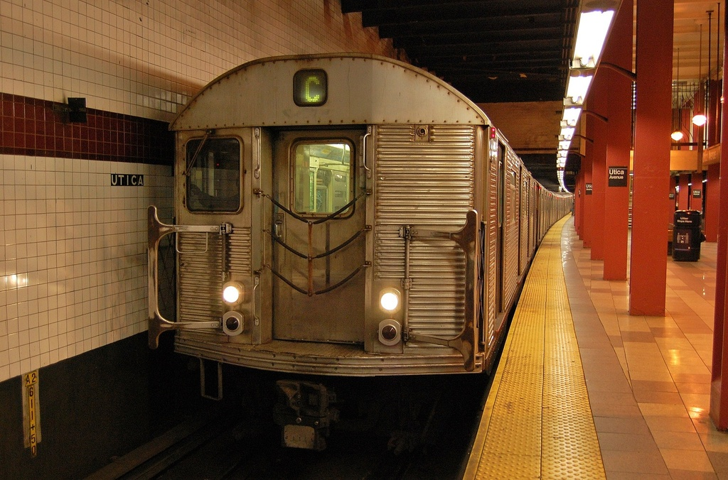 (346k, 1024x676)<br><b>Country:</b> United States<br><b>City:</b> New York<br><b>System:</b> New York City Transit<br><b>Line:</b> IND Fulton Street Line<br><b>Location:</b> Utica Avenue <br><b>Route:</b> C<br><b>Car:</b> R-32 (Budd, 1964)  3445 <br><b>Photo by:</b> John Dooley<br><b>Date:</b> 1/3/2012<br><b>Viewed (this week/total):</b> 3 / 882