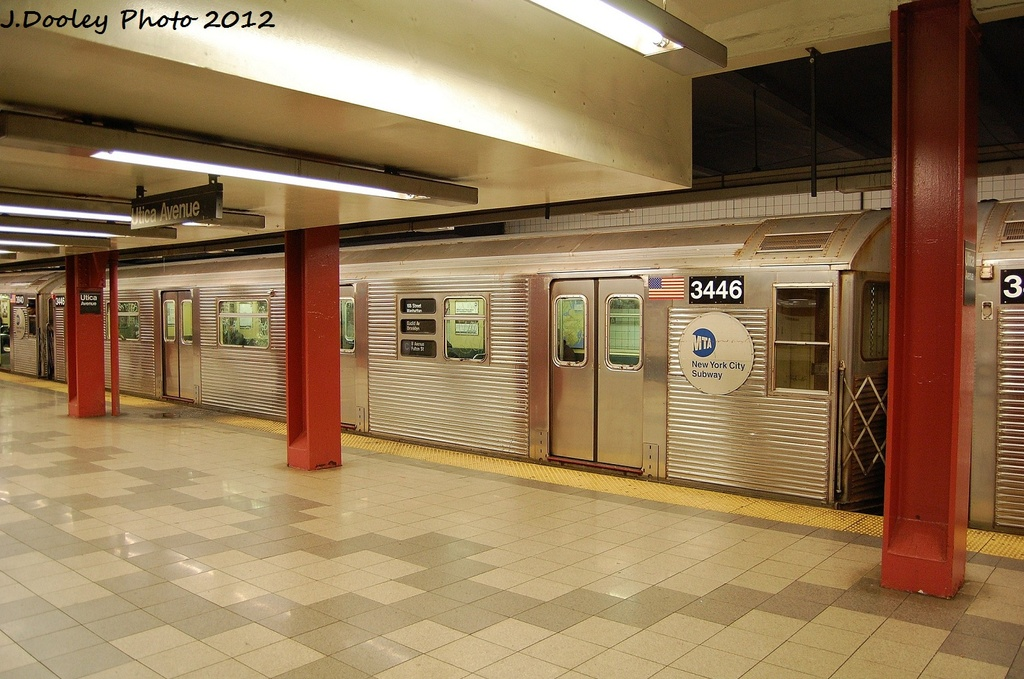 (329k, 1024x679)<br><b>Country:</b> United States<br><b>City:</b> New York<br><b>System:</b> New York City Transit<br><b>Line:</b> IND Fulton Street Line<br><b>Location:</b> Utica Avenue <br><b>Route:</b> C<br><b>Car:</b> R-32 (Budd, 1964)  3446 <br><b>Photo by:</b> John Dooley<br><b>Date:</b> 1/3/2012<br><b>Viewed (this week/total):</b> 0 / 876