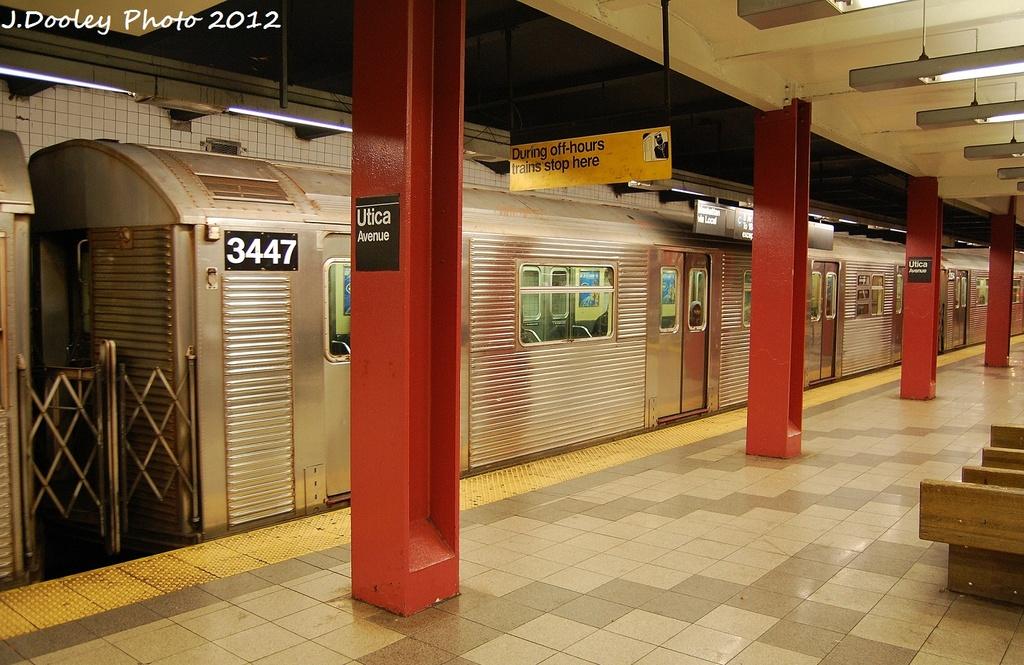 (342k, 1024x665)<br><b>Country:</b> United States<br><b>City:</b> New York<br><b>System:</b> New York City Transit<br><b>Line:</b> IND Fulton Street Line<br><b>Location:</b> Utica Avenue <br><b>Route:</b> C<br><b>Car:</b> R-32 (Budd, 1964)  3447 <br><b>Photo by:</b> John Dooley<br><b>Date:</b> 1/3/2012<br><b>Viewed (this week/total):</b> 6 / 713