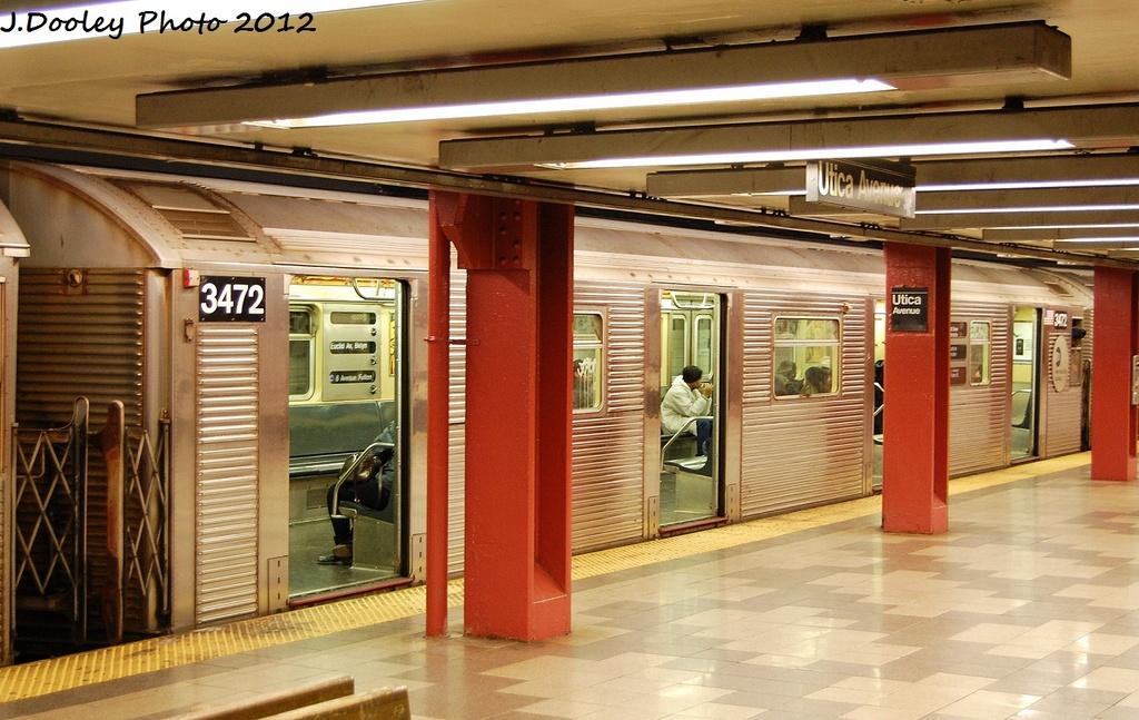 (332k, 1024x647)<br><b>Country:</b> United States<br><b>City:</b> New York<br><b>System:</b> New York City Transit<br><b>Line:</b> IND Fulton Street Line<br><b>Location:</b> Utica Avenue <br><b>Route:</b> C<br><b>Car:</b> R-32 (Budd, 1964)  3472 <br><b>Photo by:</b> John Dooley<br><b>Date:</b> 1/3/2012<br><b>Viewed (this week/total):</b> 0 / 761