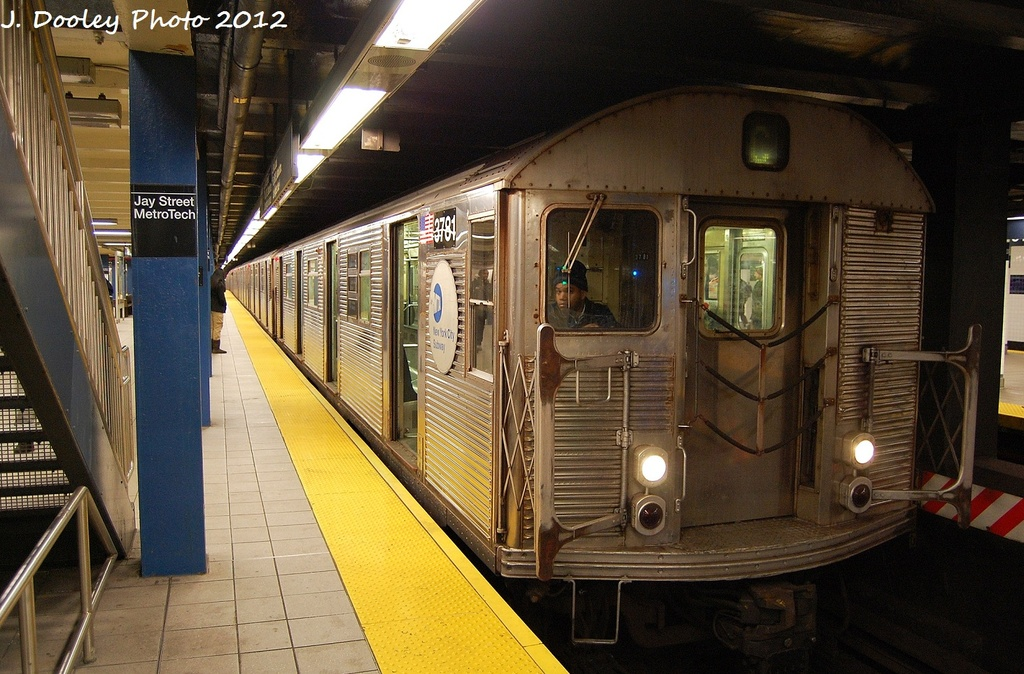 (355k, 1024x674)<br><b>Country:</b> United States<br><b>City:</b> New York<br><b>System:</b> New York City Transit<br><b>Line:</b> IND 8th Avenue Line<br><b>Location:</b> Jay St./Metrotech (Borough Hall) <br><b>Route:</b> C<br><b>Car:</b> R-32 (Budd, 1964)  3781 <br><b>Photo by:</b> John Dooley<br><b>Date:</b> 1/3/2012<br><b>Viewed (this week/total):</b> 3 / 879