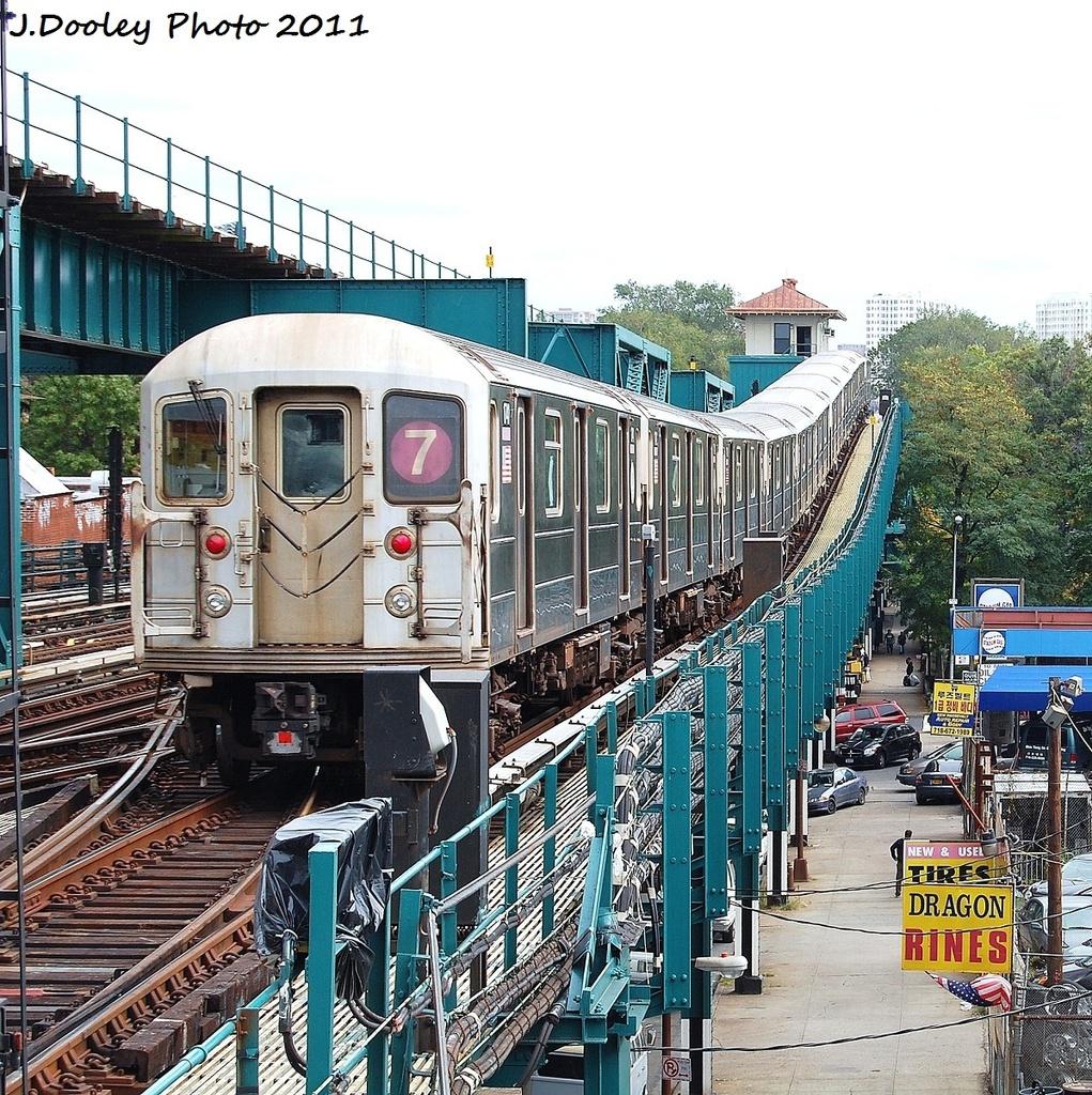 (582k, 1021x1024)<br><b>Country:</b> United States<br><b>City:</b> New York<br><b>System:</b> New York City Transit<br><b>Line:</b> IRT Flushing Line<br><b>Location:</b> 111th Street <br><b>Route:</b> 7<br><b>Car:</b> R-62A (Bombardier, 1984-1987)  1741 <br><b>Photo by:</b> John Dooley<br><b>Date:</b> 10/12/2011<br><b>Viewed (this week/total):</b> 2 / 849