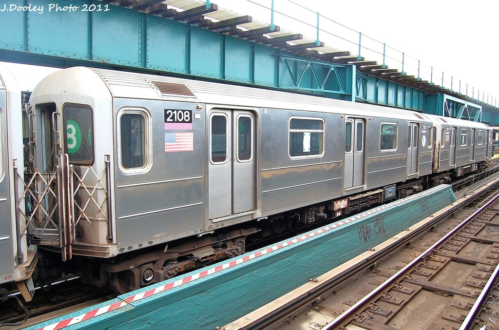 (389k, 1024x677)<br><b>Country:</b> United States<br><b>City:</b> New York<br><b>System:</b> New York City Transit<br><b>Line:</b> IRT Flushing Line<br><b>Location:</b> 111th Street <br><b>Route:</b> 7<br><b>Car:</b> R-62A (Bombardier, 1984-1987)  2108 <br><b>Photo by:</b> John Dooley<br><b>Date:</b> 10/12/2011<br><b>Viewed (this week/total):</b> 0 / 1248