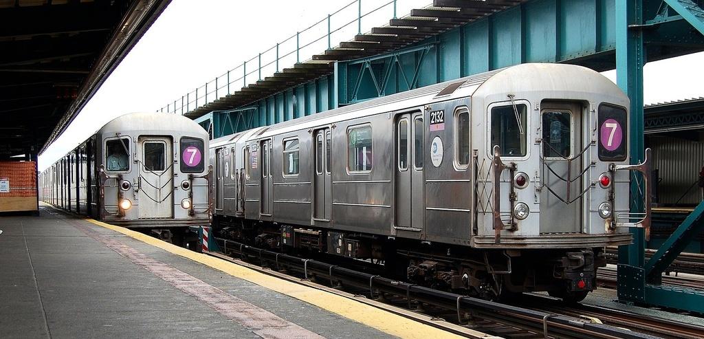 (288k, 1024x493)<br><b>Country:</b> United States<br><b>City:</b> New York<br><b>System:</b> New York City Transit<br><b>Line:</b> IRT Flushing Line<br><b>Location:</b> 111th Street <br><b>Route:</b> 7<br><b>Car:</b> R-62A (Bombardier, 1984-1987)  2132 <br><b>Photo by:</b> John Dooley<br><b>Date:</b> 10/12/2011<br><b>Viewed (this week/total):</b> 0 / 779