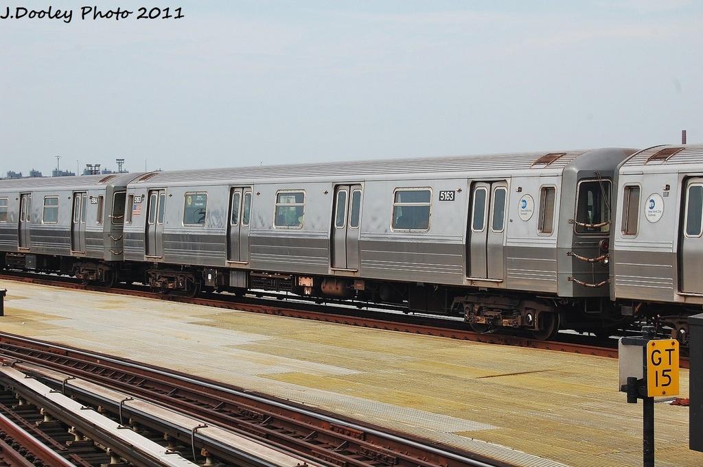 (321k, 1024x681)<br><b>Country:</b> United States<br><b>City:</b> New York<br><b>System:</b> New York City Transit<br><b>Location:</b> Coney Island/Stillwell Avenue<br><b>Route:</b> N<br><b>Car:</b> R-68A (Kawasaki, 1988-1989)  5163 <br><b>Photo by:</b> John Dooley<br><b>Date:</b> 7/23/2011<br><b>Viewed (this week/total):</b> 1 / 729