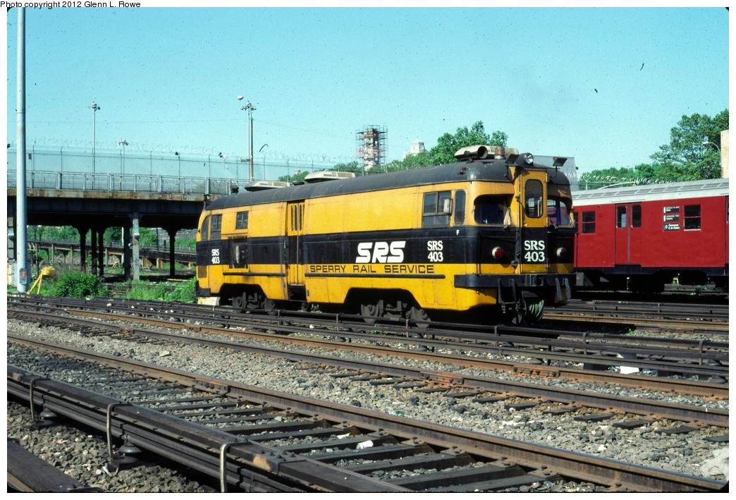 (364k, 1044x709)<br><b>Country:</b> United States<br><b>City:</b> New York<br><b>System:</b> New York City Transit<br><b>Location:</b> Concourse Yard<br><b>Car:</b> Sperry Rail Service  403 <br><b>Photo by:</b> Glenn L. Rowe<br><b>Date:</b> 5/20/1991<br><b>Viewed (this week/total):</b> 0 / 1086