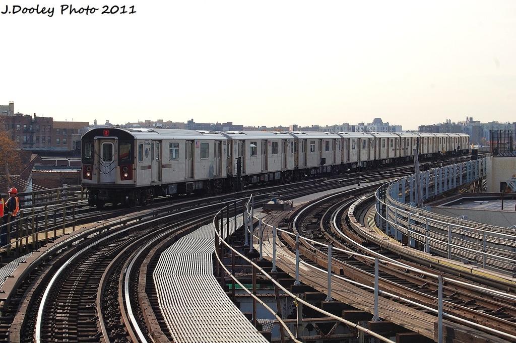 (357k, 1024x681)<br><b>Country:</b> United States<br><b>City:</b> New York<br><b>System:</b> New York City Transit<br><b>Line:</b> IRT White Plains Road Line<br><b>Location:</b> East 180th Street <br><b>Route:</b> 2<br><b>Car:</b> R-142 (Primary Order, Bombardier, 1999-2002)  6851 <br><b>Photo by:</b> John Dooley<br><b>Date:</b> 11/14/2011<br><b>Viewed (this week/total):</b> 0 / 757