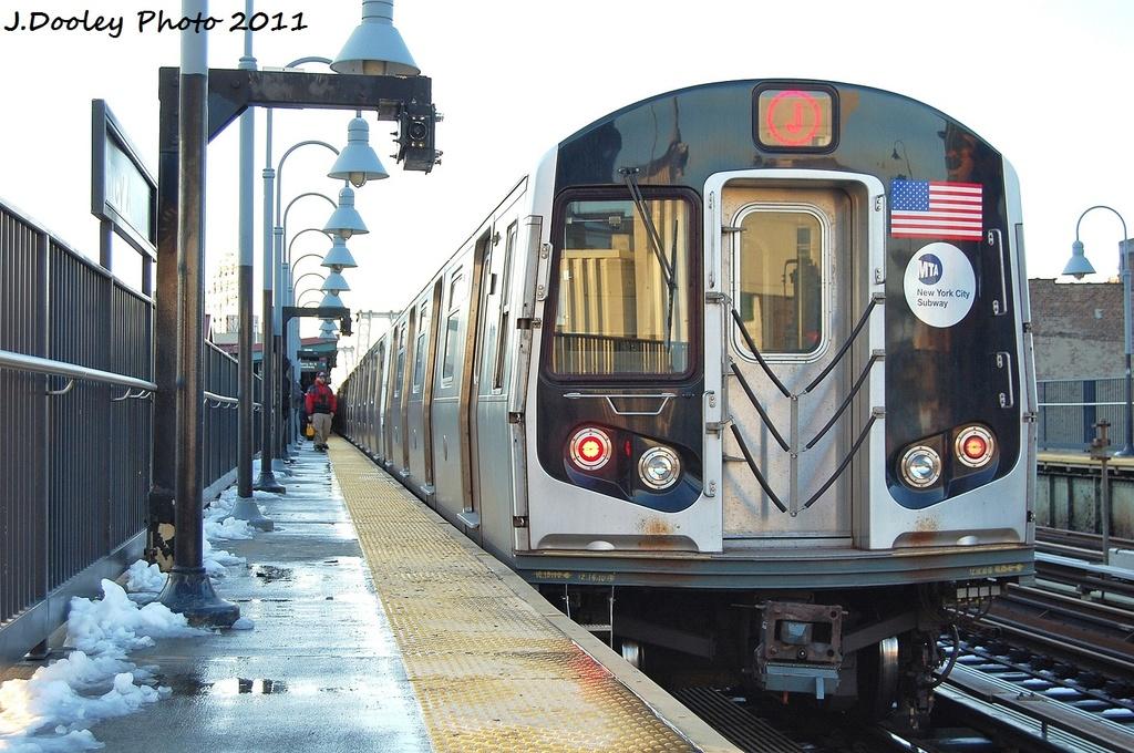 (348k, 1024x680)<br><b>Country:</b> United States<br><b>City:</b> New York<br><b>System:</b> New York City Transit<br><b>Line:</b> BMT Nassau Street/Jamaica Line<br><b>Location:</b> Marcy Avenue <br><b>Route:</b> J<br><b>Car:</b> R-160A-1 (Alstom, 2005-2008, 4 car sets)  8376 <br><b>Photo by:</b> John Dooley<br><b>Date:</b> 10/30/2011<br><b>Viewed (this week/total):</b> 1 / 1100