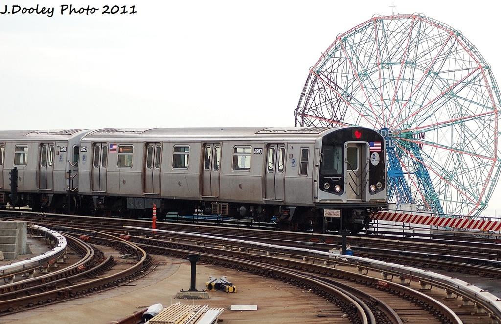 (355k, 1024x662)<br><b>Country:</b> United States<br><b>City:</b> New York<br><b>System:</b> New York City Transit<br><b>Location:</b> Coney Island Yard<br><b>Route:</b> Q<br><b>Car:</b> R-160B (Option 1) (Kawasaki, 2008-2009)  8993 <br><b>Photo by:</b> John Dooley<br><b>Date:</b> 12/31/2011<br><b>Viewed (this week/total):</b> 0 / 749