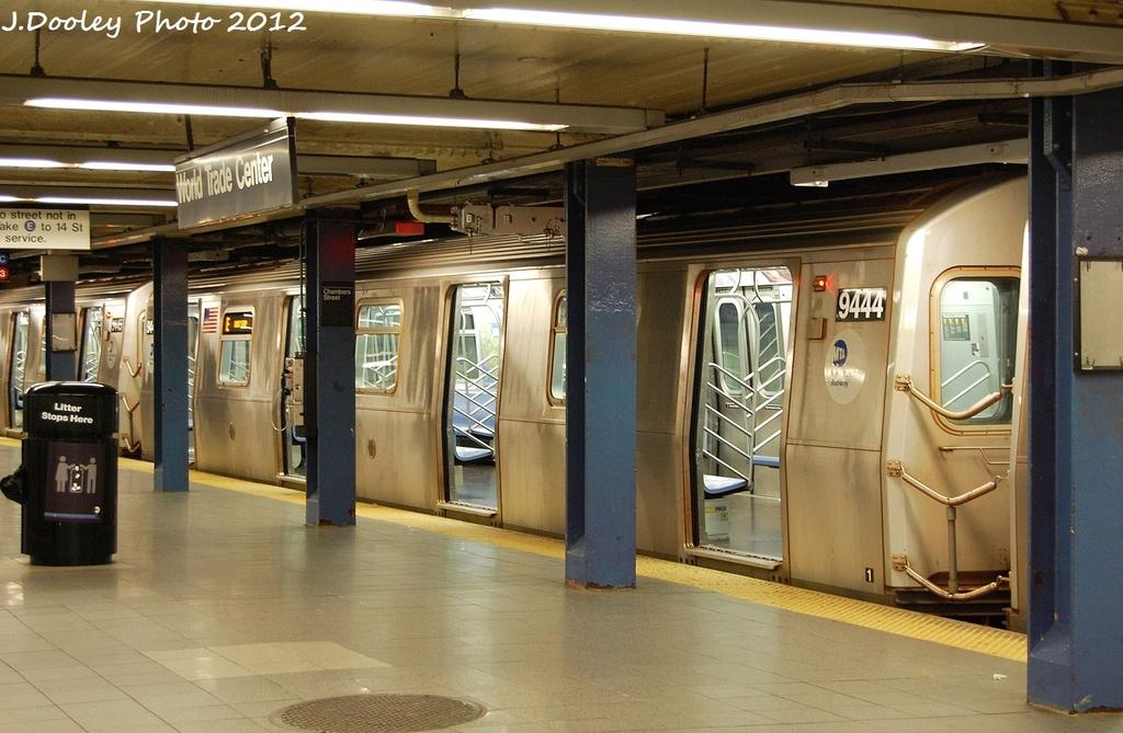 (323k, 1024x669)<br><b>Country:</b> United States<br><b>City:</b> New York<br><b>System:</b> New York City Transit<br><b>Line:</b> IND 8th Avenue Line<br><b>Location:</b> Chambers Street/World Trade Center <br><b>Route:</b> E<br><b>Car:</b> R-160A (Option 1) (Alstom, 2008-2009, 5 car sets)  9444 <br><b>Photo by:</b> John Dooley<br><b>Date:</b> 1/5/2012<br><b>Viewed (this week/total):</b> 0 / 907