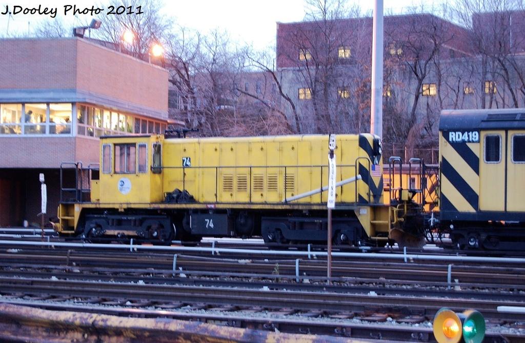 (356k, 1024x668)<br><b>Country:</b> United States<br><b>City:</b> New York<br><b>System:</b> New York City Transit<br><b>Location:</b> 36th Street Yard<br><b>Car:</b> R-52 Locomotive  74 <br><b>Photo by:</b> John Dooley<br><b>Date:</b> 12/29/2011<br><b>Viewed (this week/total):</b> 0 / 610