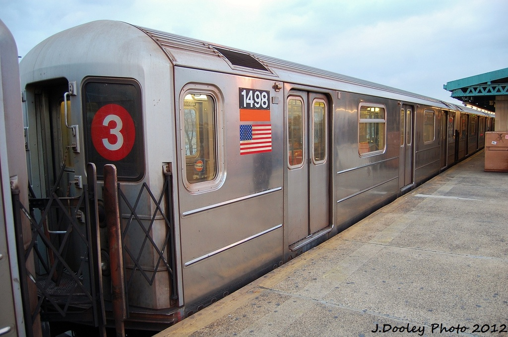 (316k, 1024x680)<br><b>Country:</b> United States<br><b>City:</b> New York<br><b>System:</b> New York City Transit<br><b>Line:</b> IRT Brooklyn Line<br><b>Location:</b> New Lots Avenue <br><b>Route:</b> 3<br><b>Car:</b> R-62 (Kawasaki, 1983-1985)  1498 <br><b>Photo by:</b> John Dooley<br><b>Date:</b> 1/14/2012<br><b>Viewed (this week/total):</b> 0 / 1070