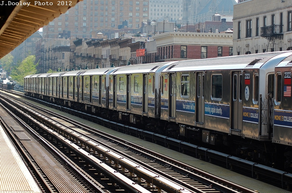 (441k, 1024x678)<br><b>Country:</b> United States<br><b>City:</b> New York<br><b>System:</b> New York City Transit<br><b>Line:</b> IRT West Side Line<br><b>Location:</b> 125th Street <br><b>Route:</b> 1<br><b>Car:</b> R-62A (Bombardier, 1984-1987)  2323 <br><b>Photo by:</b> John Dooley<br><b>Date:</b> 4/16/2012<br><b>Viewed (this week/total):</b> 0 / 780