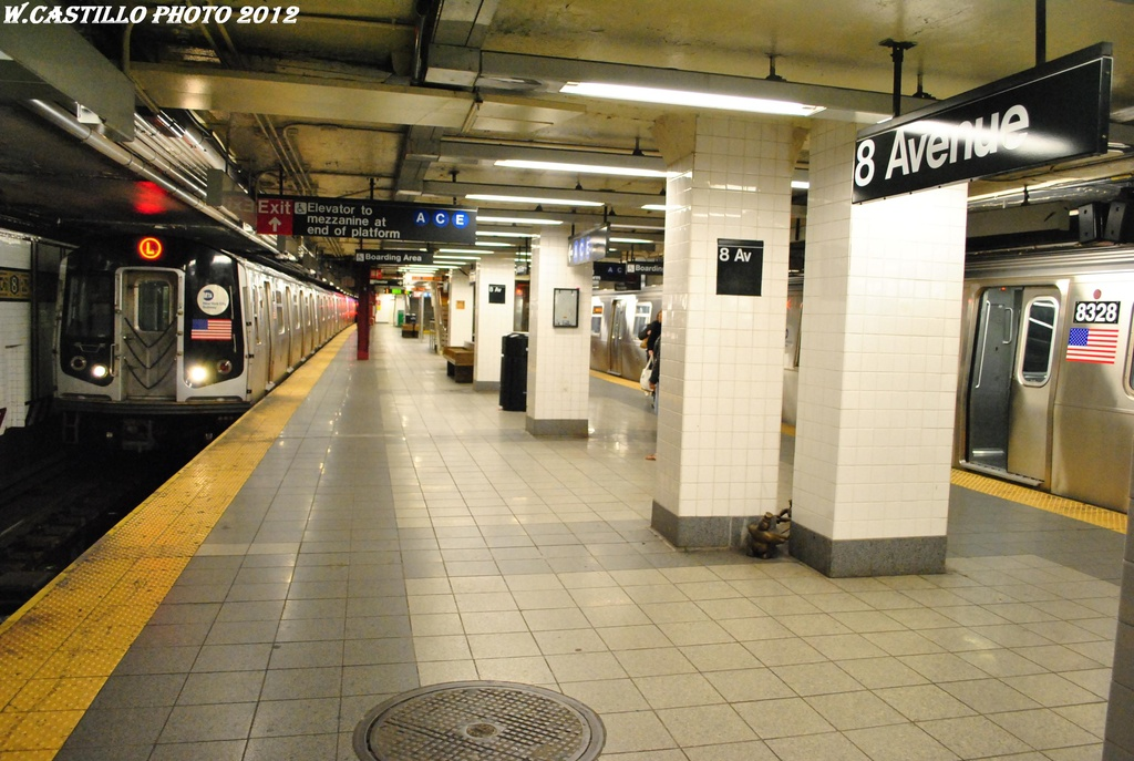 (304k, 1024x687)<br><b>Country:</b> United States<br><b>City:</b> New York<br><b>System:</b> New York City Transit<br><b>Line:</b> BMT Canarsie Line<br><b>Location:</b> 8th Avenue <br><b>Photo by:</b> Wilfredo Castillo<br><b>Date:</b> 4/25/2012<br><b>Viewed (this week/total):</b> 0 / 829