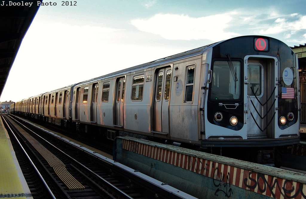 (285k, 1024x665)<br><b>Country:</b> United States<br><b>City:</b> New York<br><b>System:</b> New York City Transit<br><b>Line:</b> BMT Nassau Street/Jamaica Line<br><b>Location:</b> Chauncey Street <br><b>Route:</b> L turnback<br><b>Car:</b> R-143 (Kawasaki, 2001-2002) 8229 <br><b>Photo by:</b> John Dooley<br><b>Date:</b> 3/3/2012<br><b>Viewed (this week/total):</b> 2 / 1256