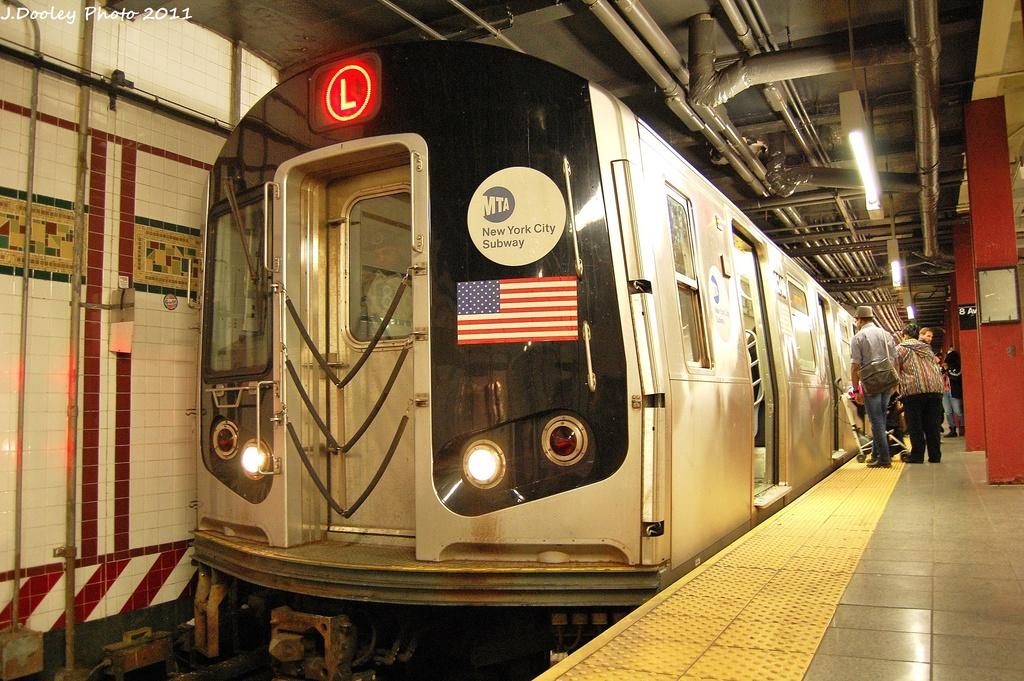 (387k, 1024x681)<br><b>Country:</b> United States<br><b>City:</b> New York<br><b>System:</b> New York City Transit<br><b>Line:</b> BMT Canarsie Line<br><b>Location:</b> 8th Avenue <br><b>Route:</b> L<br><b>Car:</b> R-143 (Kawasaki, 2001-2002) 8240 <br><b>Photo by:</b> John Dooley<br><b>Date:</b> 11/14/2011<br><b>Viewed (this week/total):</b> 2 / 1001