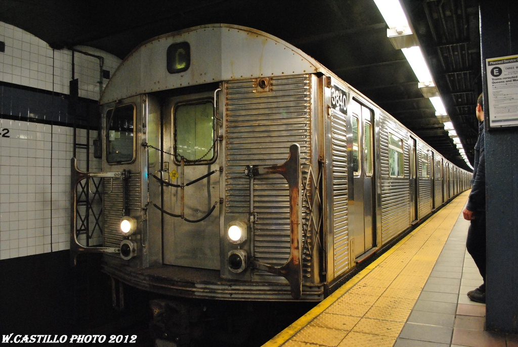 (304k, 1024x687)<br><b>Country:</b> United States<br><b>City:</b> New York<br><b>System:</b> New York City Transit<br><b>Line:</b> IND 8th Avenue Line<br><b>Location:</b> 42nd Street/Port Authority Bus Terminal <br><b>Route:</b> C<br><b>Car:</b> R-32 (Budd, 1964)  3840 <br><b>Photo by:</b> Wilfredo Castillo<br><b>Date:</b> 4/25/2012<br><b>Viewed (this week/total):</b> 1 / 987