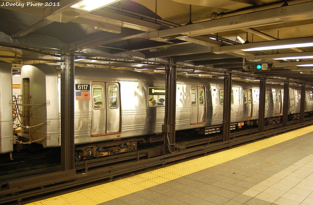 (355k, 1024x671)<br><b>Country:</b> United States<br><b>City:</b> New York<br><b>System:</b> New York City Transit<br><b>Line:</b> IND 8th Avenue Line<br><b>Location:</b> 14th Street <br><b>Route:</b> A<br><b>Car:</b> R-46 (Pullman-Standard, 1974-75) 6117 <br><b>Photo by:</b> John Dooley<br><b>Date:</b> 11/14/2011<br><b>Viewed (this week/total):</b> 2 / 820