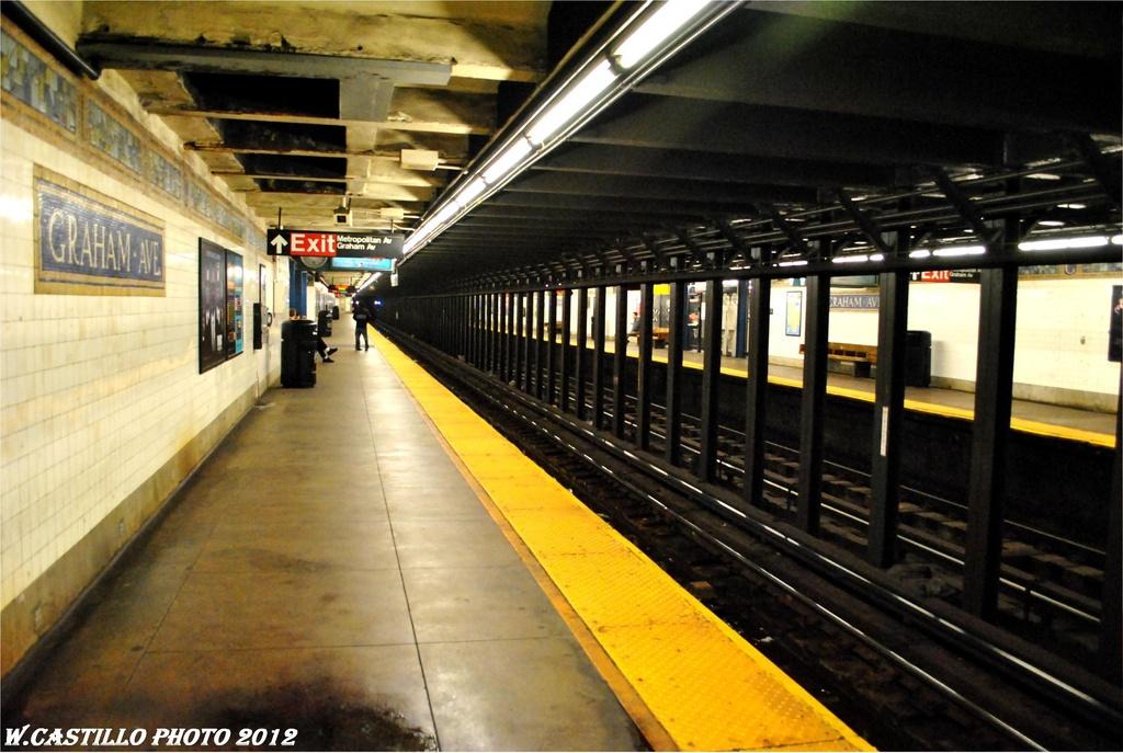 (260k, 1024x687)<br><b>Country:</b> United States<br><b>City:</b> New York<br><b>System:</b> New York City Transit<br><b>Line:</b> BMT Canarsie Line<br><b>Location:</b> Graham Avenue <br><b>Photo by:</b> Wilfredo Castillo<br><b>Date:</b> 4/27/2012<br><b>Viewed (this week/total):</b> 0 / 966