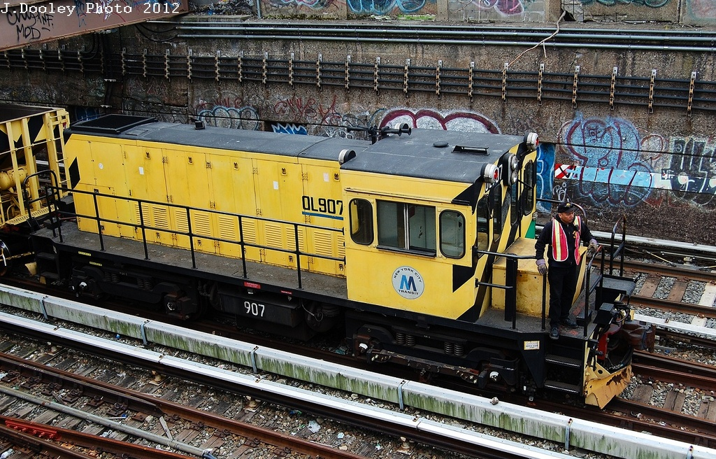 (456k, 1024x656)<br><b>Country:</b> United States<br><b>City:</b> New York<br><b>System:</b> New York City Transit<br><b>Line:</b> BMT Sea Beach Line<br><b>Location:</b> Kings Highway <br><b>Route:</b> Work Service<br><b>Car:</b> R-120 Locomotive  907 <br><b>Photo by:</b> John Dooley<br><b>Date:</b> 3/24/2012<br><b>Viewed (this week/total):</b> 1 / 722