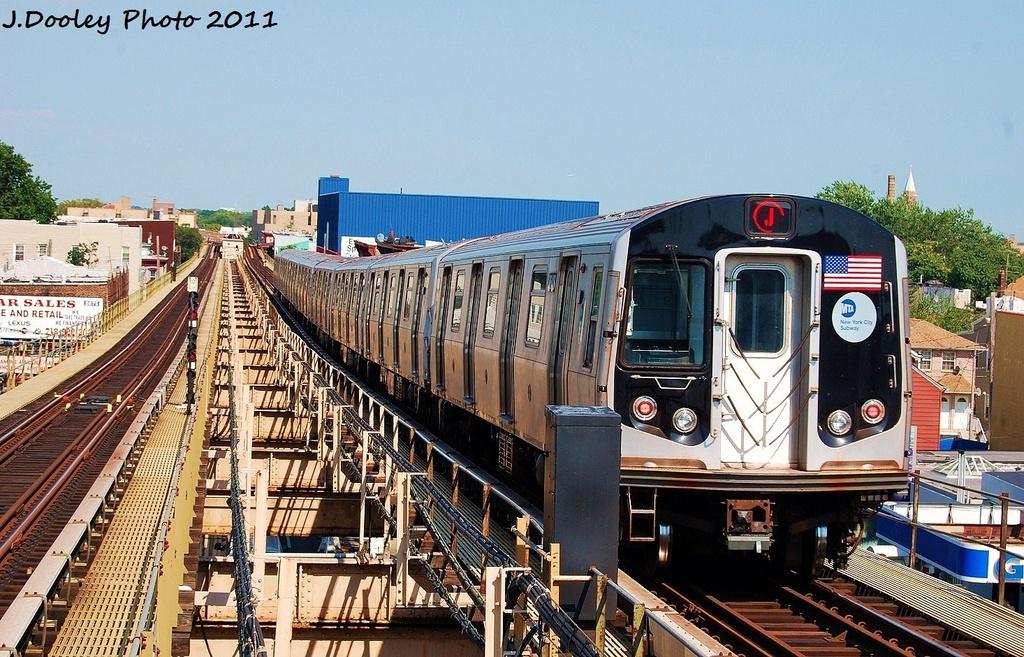 (390k, 1024x657)<br><b>Country:</b> United States<br><b>City:</b> New York<br><b>System:</b> New York City Transit<br><b>Line:</b> BMT Nassau Street/Jamaica Line<br><b>Location:</b> Alabama Avenue <br><b>Route:</b> J<br><b>Car:</b> R-160A-1 (Alstom, 2005-2008, 4 car sets)  8648 <br><b>Photo by:</b> John Dooley<br><b>Date:</b> 8/17/2011<br><b>Viewed (this week/total):</b> 6 / 920
