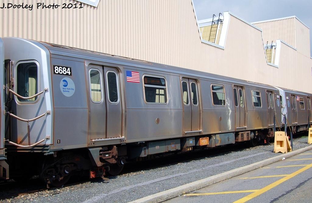 (306k, 1024x667)<br><b>Country:</b> United States<br><b>City:</b> New York<br><b>System:</b> New York City Transit<br><b>Location:</b> Coney Island Yard<br><b>Car:</b> R-160A-2 (Alstom, 2005-2008, 5 car sets)  8684 <br><b>Photo by:</b> John Dooley<br><b>Date:</b> 8/26/2011<br><b>Viewed (this week/total):</b> 0 / 526